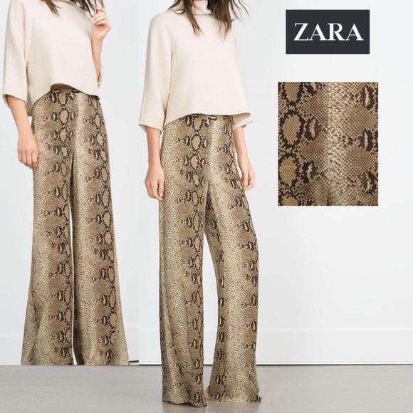 0f7c3c5f0 Zara Pants   Snakeskin Print Wide Leg Trouser Nwt   Poshmark